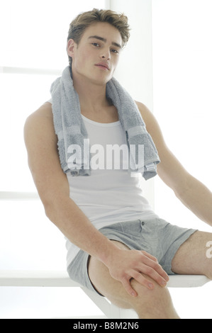 Man with towel - Stock Photo