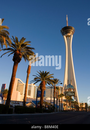 Stratosphere Hotel and Casino on the Las Vegas strip at Sunrise, Nevada, USA - Stock Photo
