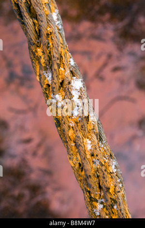 Old strong metal wire hawser over scratched rusty ship hull background covered with snowflakes. - Stock Photo