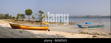 India Andaman and Nicobar Havelock Island dunga fishing boats moored on No 2 beach panoramic - Stock Photo