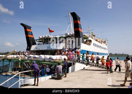 India Andaman and Nicobar Havelock Island passengers disembarking MV Ramanujam ferry - Stock Photo