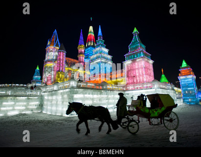Spectacular illuminated ice sculptures at the Harbin Ice and Snow Festival in Heilongjiang Province China January - Stock Photo