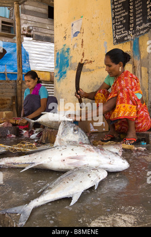 India Andaman and Nicobar Havelock island number 1 village woman cutting up fish - Stock Photo