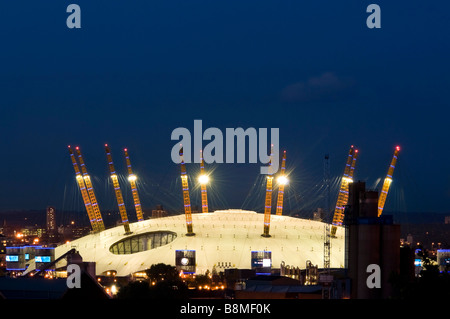 Horizontal close up of the O2 formerly known as the Millennium Dome lit up at night - Stock Photo
