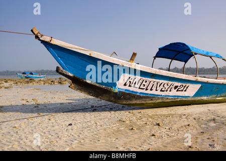 India Andaman and Nicobar Havelock island fishing boat on number 2 beach - Stock Photo