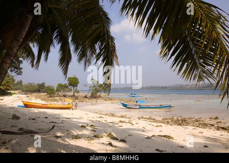 India Andaman and Nicobar Havelock island fishing boats moored on number 2 beach - Stock Photo