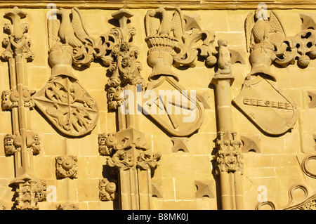 Facade detail from Jabalquinto Palace 16th century Baeza Jaén province Andalusia Spain - Stock Photo