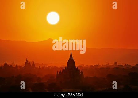 Sunset in Bagan. Burma(Myanmar). - Stock Photo