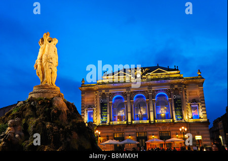 The opera and Comedie Place at Montpellier, France. - Stock Photo