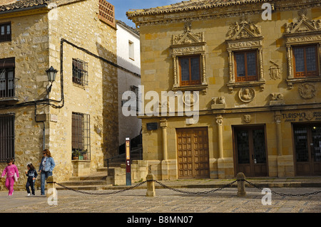 Escribanias publicas now Tourism office at Populo square Baeza Jaen province Andalusia Spain - Stock Photo