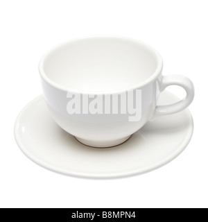 Empty white cup and saucer on white cutout - Stock Photo