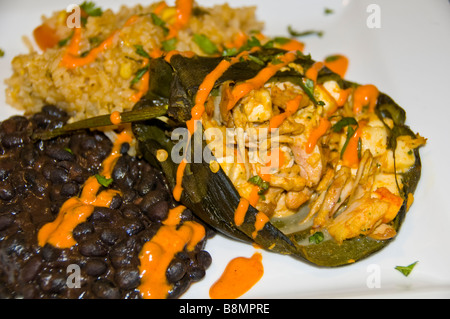 Chili chicken relleno with black beans and rice on white plate mexican food tex-mex cuisine san antonio texas tx - Stock Photo