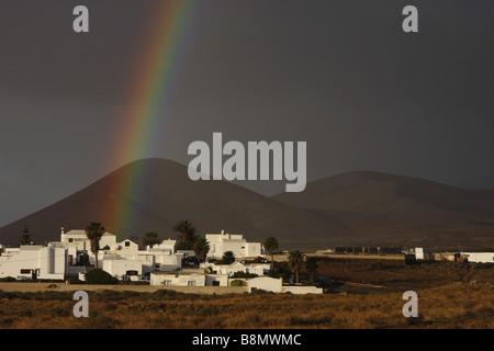 rainbow near Tahiche, Canary Islands, Lanzarote - Stock Photo