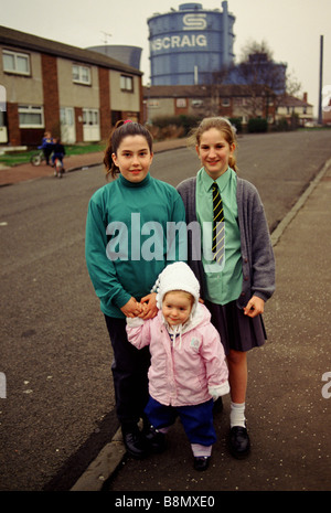 Ravenscraig, Motherwell, Scotland. March 1992  Girls on the streets. Their familys work in the British Steel Work, - Stock Photo