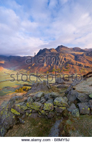 The Langdale Pikes and Valley, from Side Pike, Lake District National Park, Cumbria, England, UK. - Stock Photo