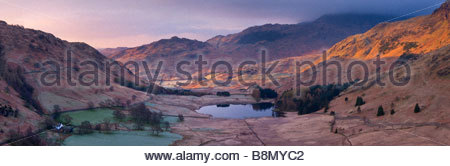 Elevated view of Blea Tarn, Lake District National Park, Cumbria, England, UK. - Stock Photo
