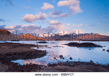 Clearing storm over Lochan na h'Achlaise and the Black Mount, Rannoch Moor, Scottish Highlands, UK. - Stock Photo