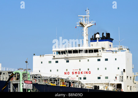 Bridge superstructure of 'oil tanker' with 'no smoking' signs, windows, radar communications equipment and smokestack - Stock Photo
