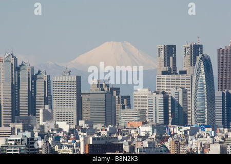 Mount Fuji and the Shinjuku district skyscraper skyline Tokyo Japan Monday 3rd March 2009 - Stock Photo