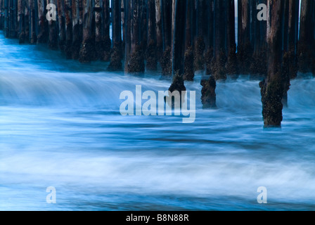 Waves Ocean Motion Blur & Ventura Pier, Ventura California USA - Stock Photo