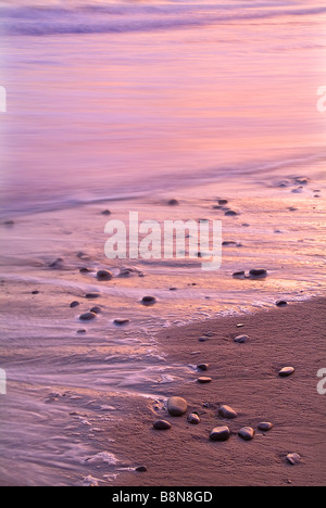 Beach Sand Rocks Detail Sunset, Ventura California USA - Stock Photo