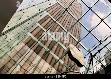A view of the glass ceiling in the Apple Mac store on 5th avenue - Stock Photo