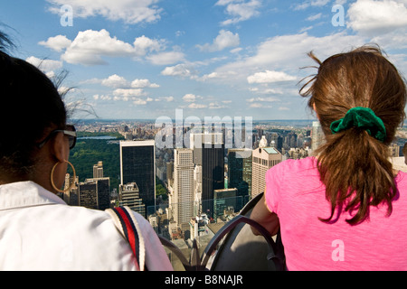 Tourists on the viewing platform on top of the NBC building - Stock Photo