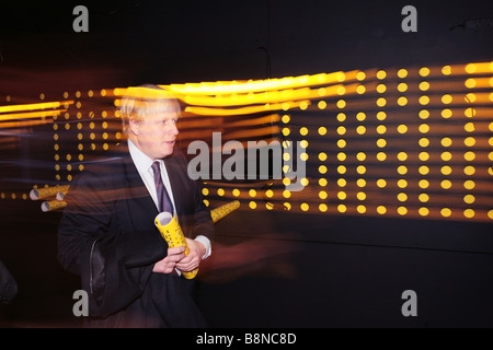 London Mayor Boris Johnson visiting the Digital Cities exhibtion at the Building Centre before speaking on architecture - Stock Photo