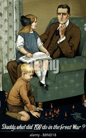 Photo of an original British World War One recruiting poster issued by the Parliamentary Recruiting Committee in - Stock Photo