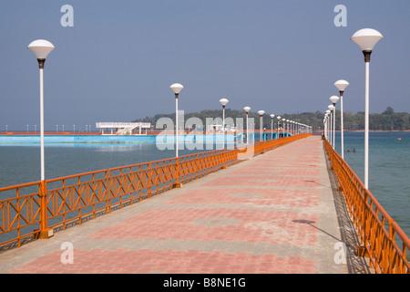 India Andaman and Nicobar South Andaman island Port Blair Marina Park walkway around boating lake - Stock Photo