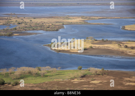 Aerial view of the tidal flats at high tide of the Maputo special reserve - Stock Photo