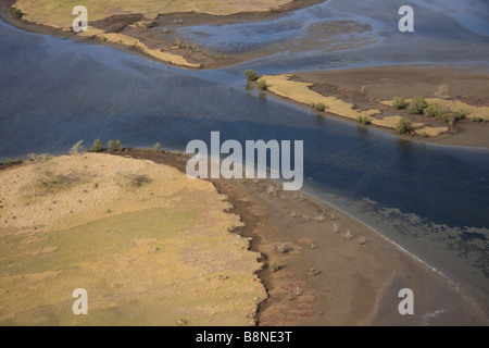 Aerial view of the tidal flats of the Maputo special reserve - Stock Photo