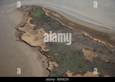 Aerial view of the shoreline in the tidal flats of the Maputo special reserve - Stock Photo