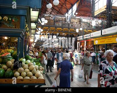 Covered Grand Market Hall, Budapest, Hungary, Europe - Stock Photo