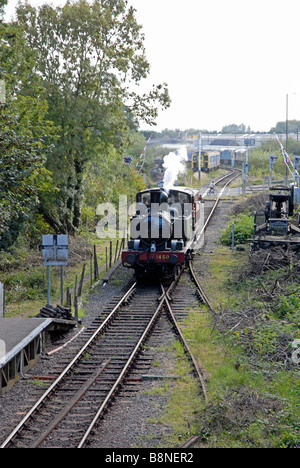 Steam locomotive 1450 in GWR colours on Forest of Dean railway pulling single goods wagon and about to enter Lydney - Stock Photo