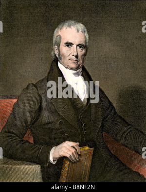 Chief Justice John Marshall. Hand-colored steel engraving - Stock Photo