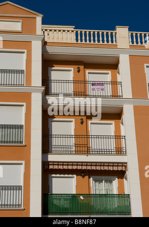 new spanish Apartments Homes with empty balconies spain - Stock Photo