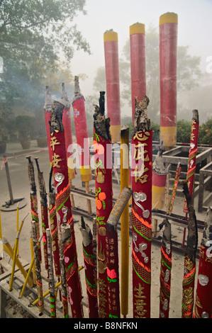 Incense sticks burning on first day of Lunar New Year 2009 at Po Lin monastery Lantau Hong Kong - Stock Photo