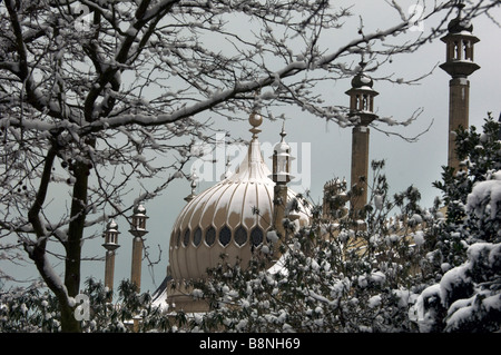 Snow covers the Domes and minarets of the Brighton Royal Pavilion East Sussex UK - Stock Photo