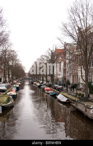 Typical Dutch Canal Scene Prinsengracht Amsterdam - Stock Photo