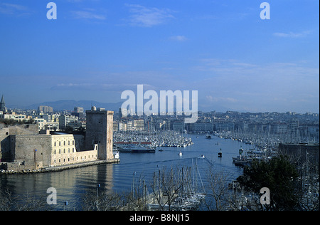 Marseille, Fort St Jean, and the entrance to the Vieux Port, seen from the Parc de Pharo - Stock Photo