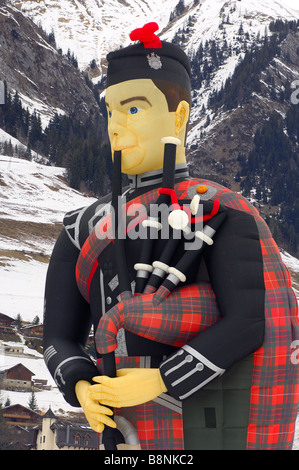 Upper part of the special shape hot air balloon Flying Scotsman G PIPY Cameron SS Balloon Piper 105 - Stock Photo