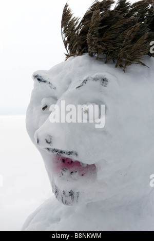 Scary snowman ogre face. - Stock Photo