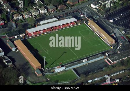Aerial view of Aggborough stadium Kidderminster Harriers Football Club ground Worcestershire England Uk - Stock Photo
