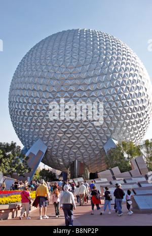 Spaceship Earth geodesic dome, Epcot Center theme park, Walt Disney World, Orlando, Florida, USA - Stock Photo