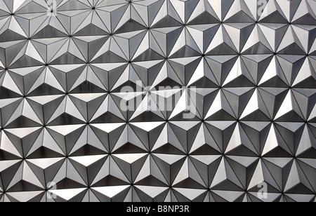 Close up view of Spaceship Earth, the geodesic dome at Walt Disney World Epcot Center theme park, Orlando, Florida, - Stock Photo