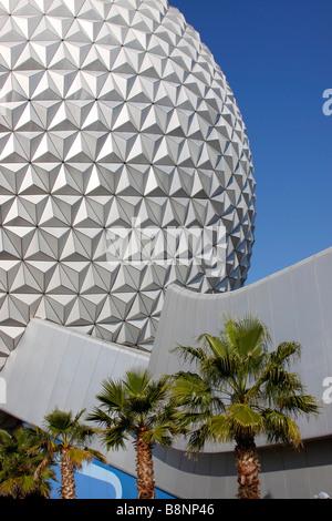 Spaceship Earth, the geodesic dome at Walt Disney World Epcot Center theme park, Orlando, Florida, USA - Stock Photo