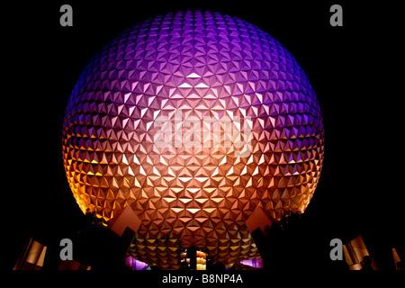 Night view of Spaceship Earth, the geodesic dome at Epcot Center theme park, Walt Disney World, Orlando, Florida, - Stock Photo
