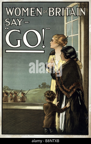 """Famous World War One British recruiting and propaganda poster entitled """"Women of Britain say GO!"""". - Stock Photo"""