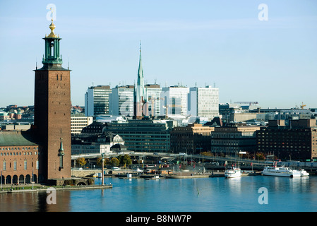 Sweden, Stockholm, Kungsholmen Island, view of waterfront and town hall - Stock Photo
